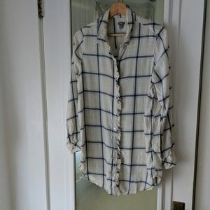Aerie Softest Blue Check Long Flannel Ruffled